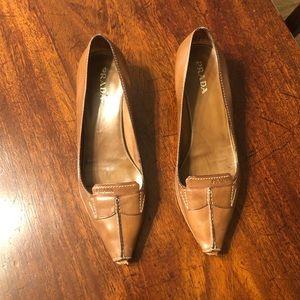 Prada leather peep toe pumps 39